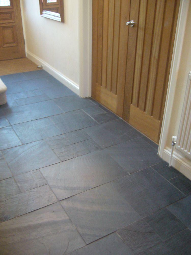 Rectangular Black Slate Slabs Tiled On Hallway Floor Hall