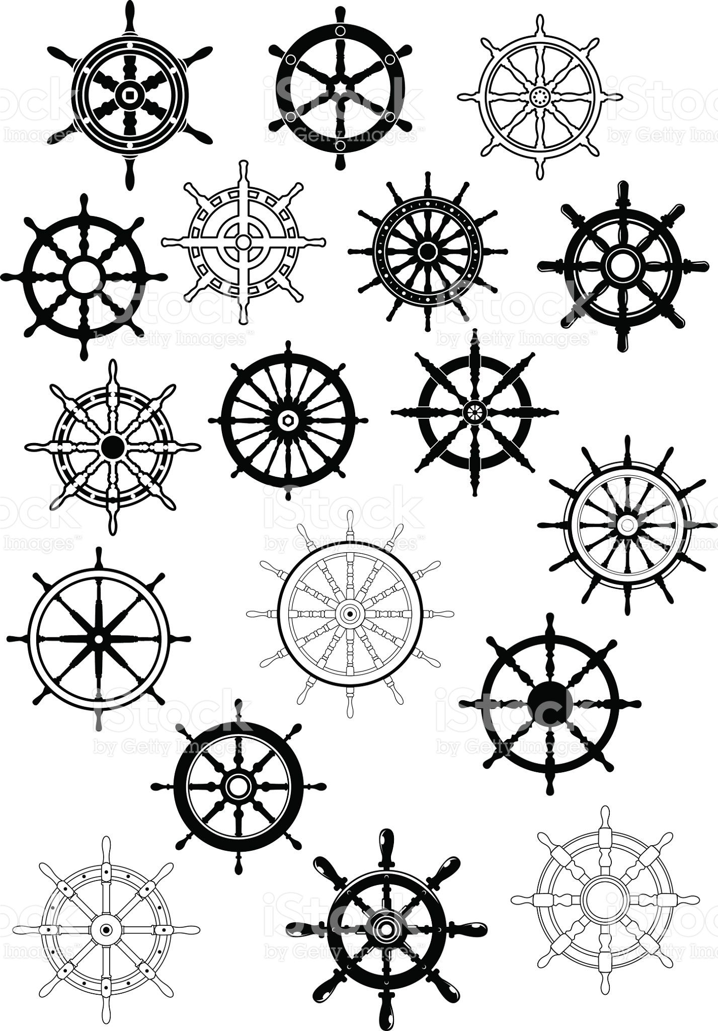 Ship Steering Wheels In Retro Style For Nautical And