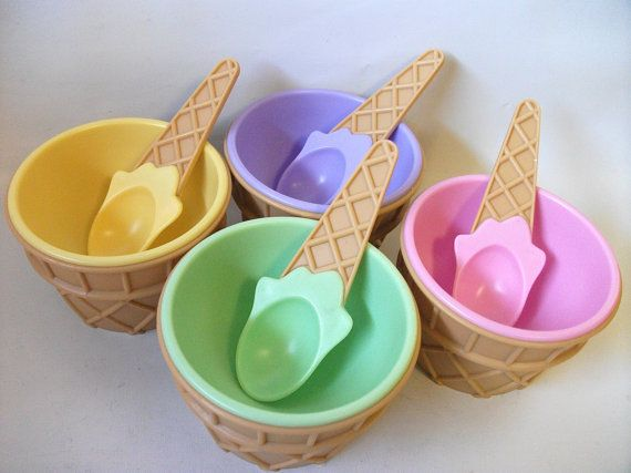 Vintage Ice Cream Cone Sundae Dishes Bowls Cups by RetroClassics