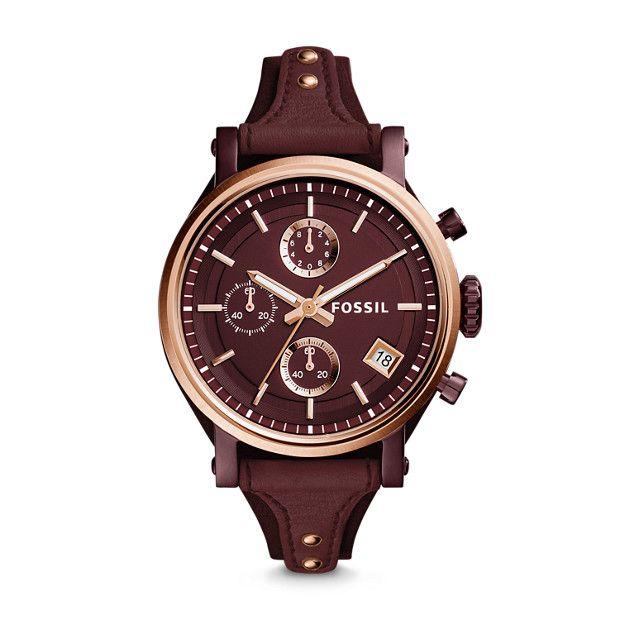 Montre Original Boyfriend Sport Chronographe En Cuir Bordeaux Fossil Watches Women Blue Leather Watch Boyfriend Watch