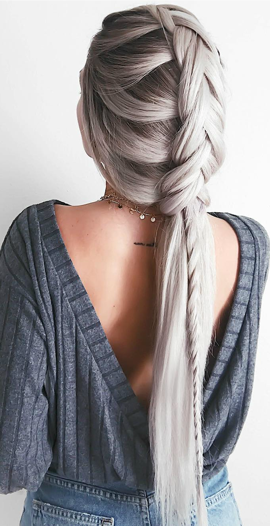Sweetest dreams charcoal grey backless sweater top hair style