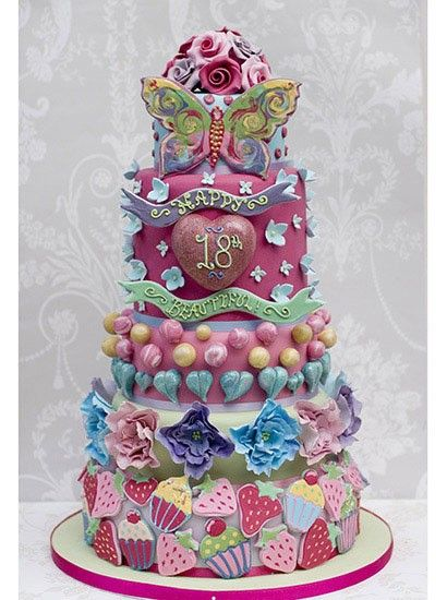 Gorgeous 18th birthday cake Shades of pink candy inspired