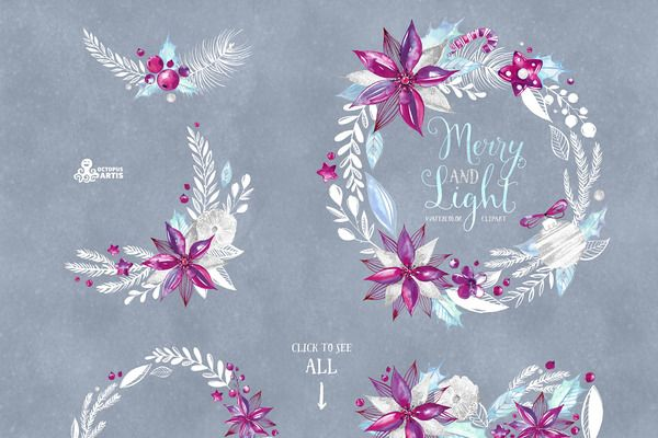 Merry and Light. Holiday collection by OctopusArtis on Creative Market