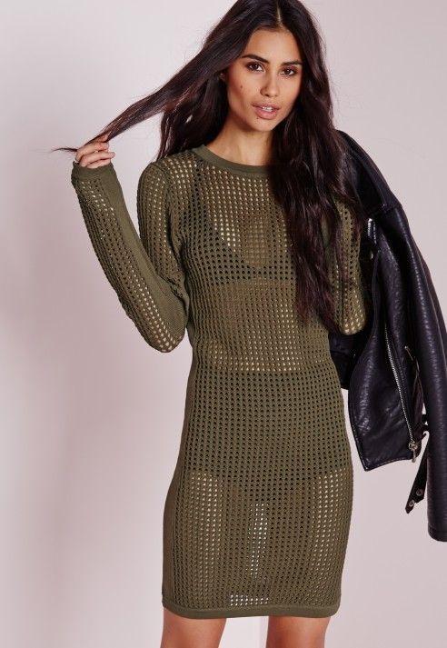 d5aa530f0c0 All Over Mesh Mini Dress Khaki