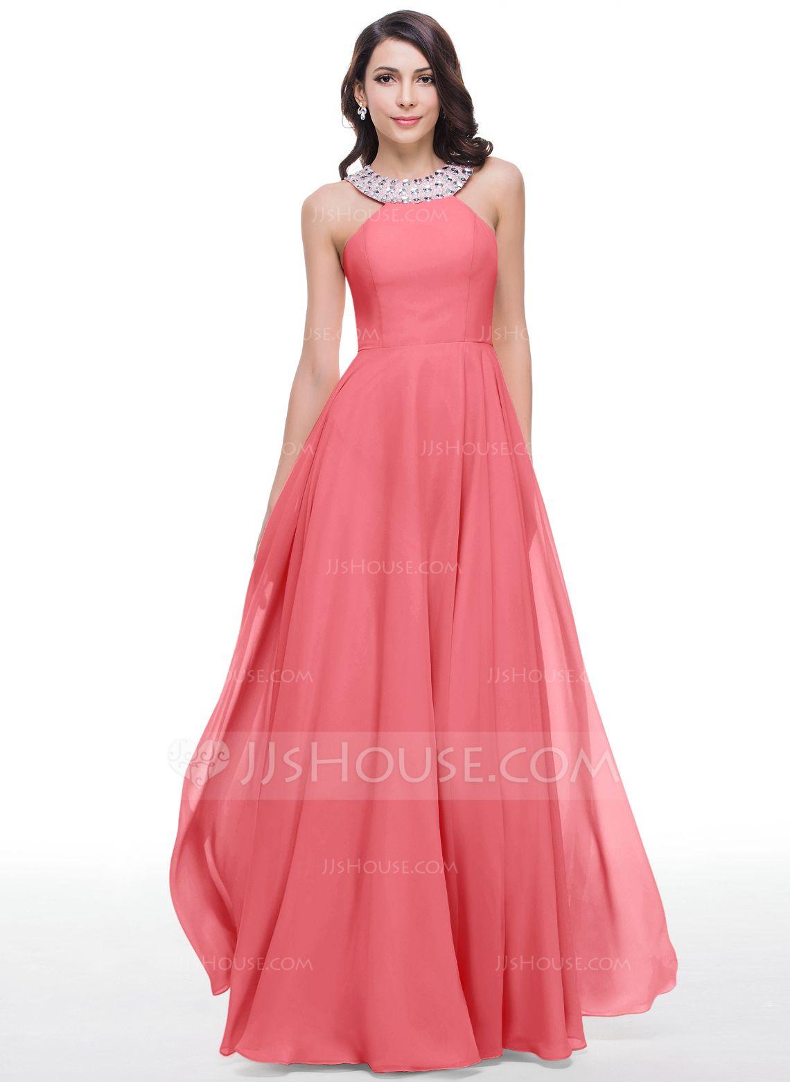 Vestidos princesa/ Formato A Decote redondo Longos Tecido de seda ...