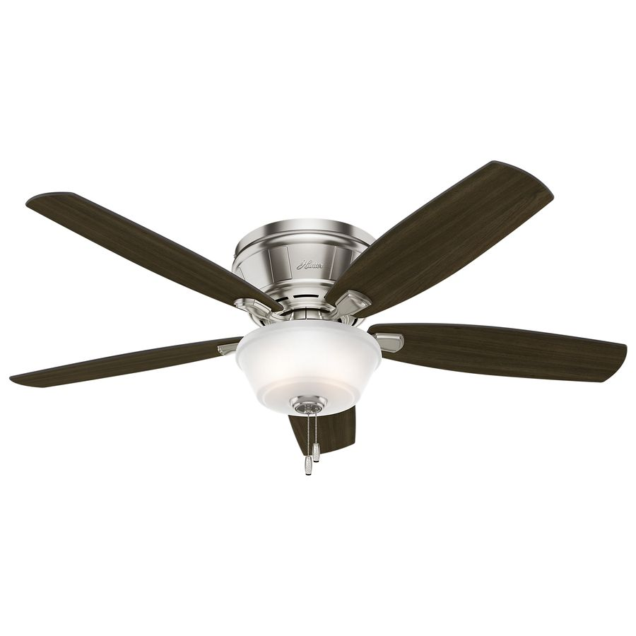Hunter Estate Winds 56 In Brushed Nickel Indoor Flush Mount Ceiling Fan With Light Kit Lowes Com Ceiling Fan Ceiling Fan With Light Ceiling Fan Low Profile