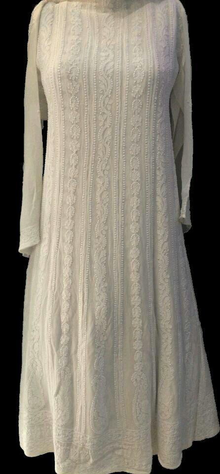 White Chikankari Mastani Anarkali Kurti Pure Georgette Lucknow Chikan Handwork Kurta Embroided Ethnic Wear Kurta Kaftan
