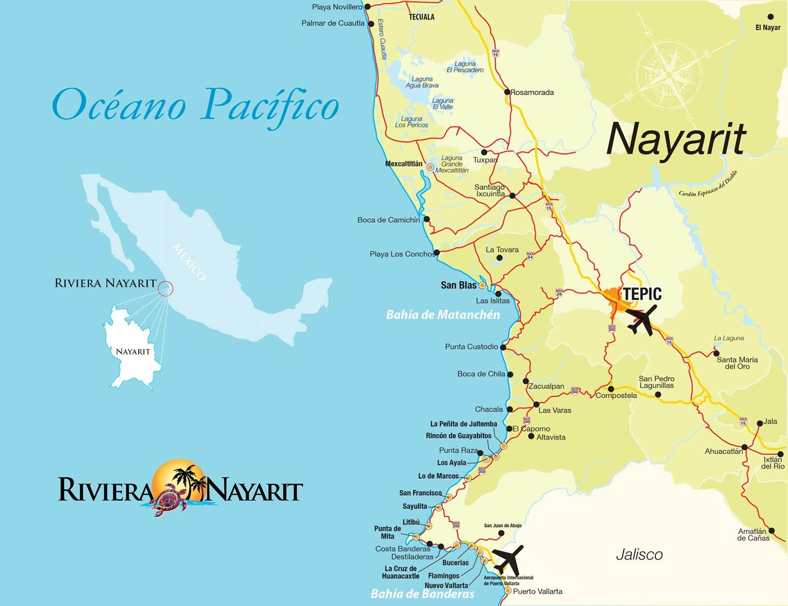 Map Mapa Riviera Nayarit Pinterest