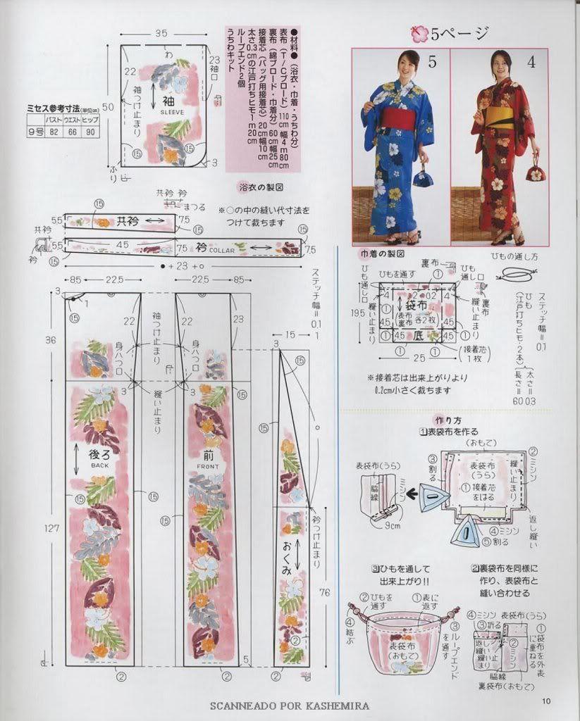 Patrón de kimono femenino extraído de revista japonesa de costura ...