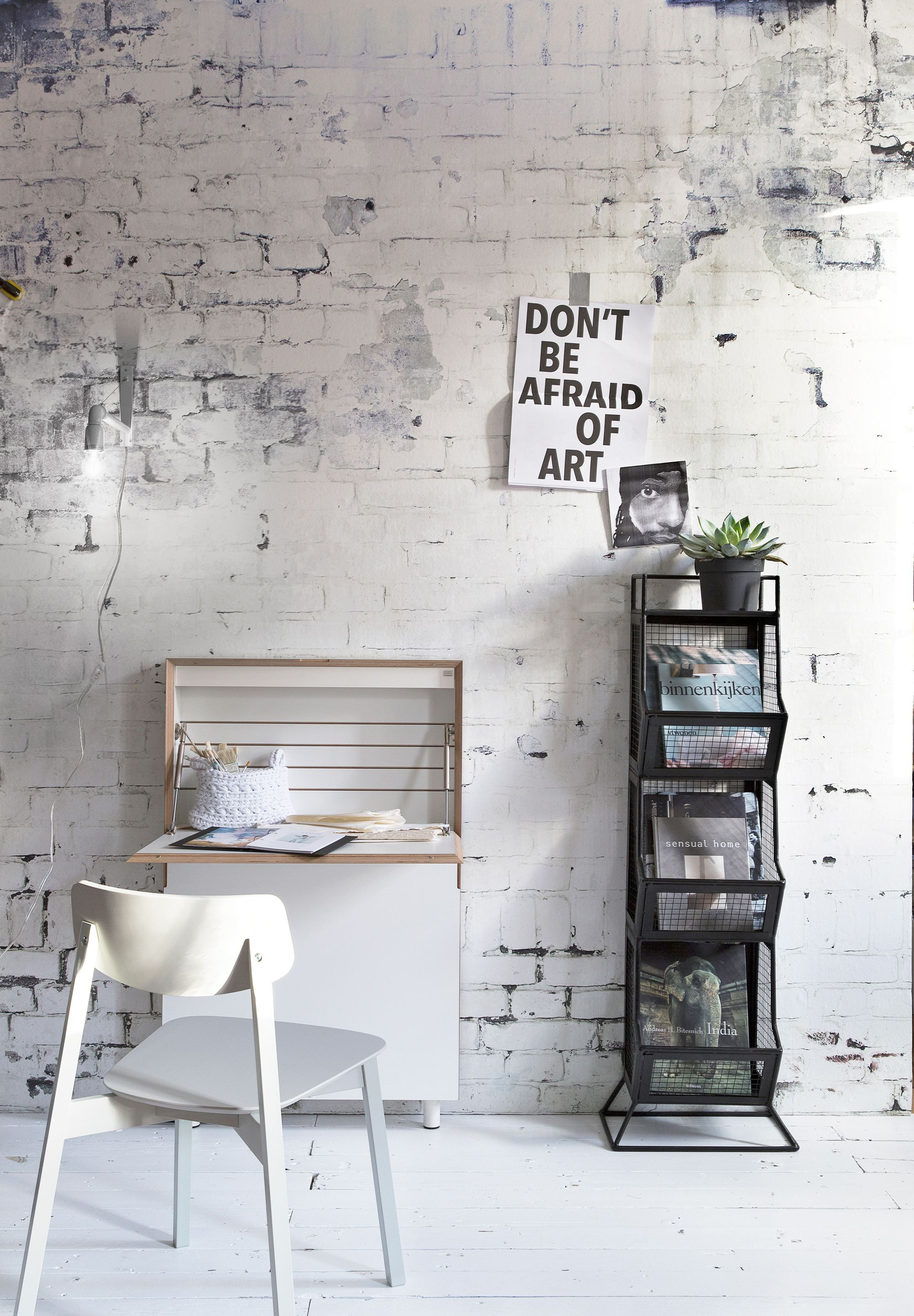 office with white leather wall armchair photo brick stock interior