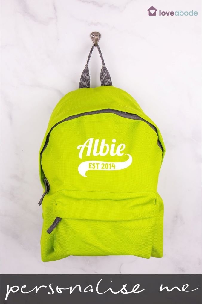 5fce3c798c Boys Personalised Green Backpack by Loveabode - Green