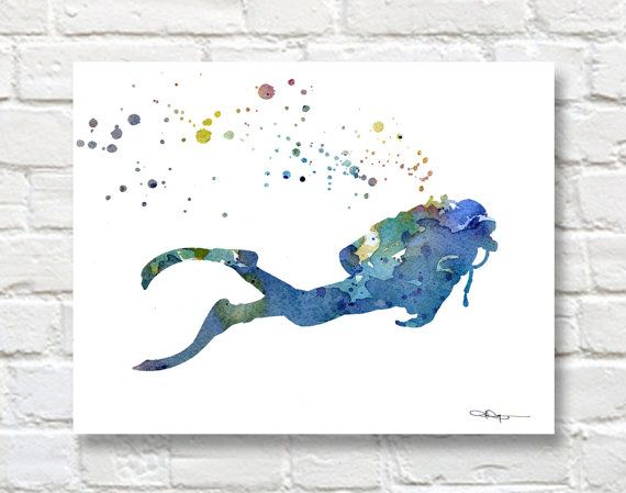 Scuba Diver Art Print Abstract Watercolor Painting Wall Decor
