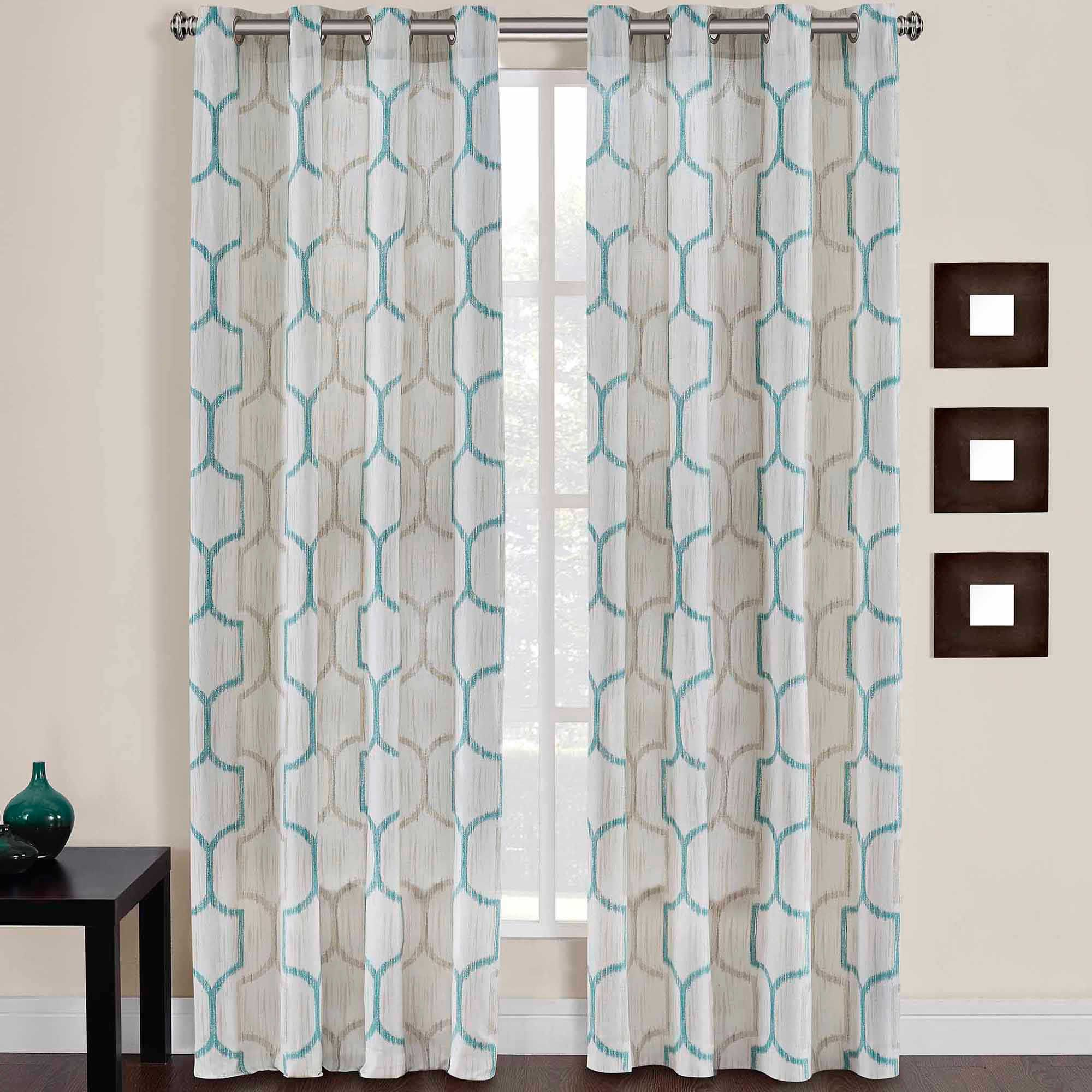 Portinari Grommet Top 95 Inch Window Curtain Panel In Natural