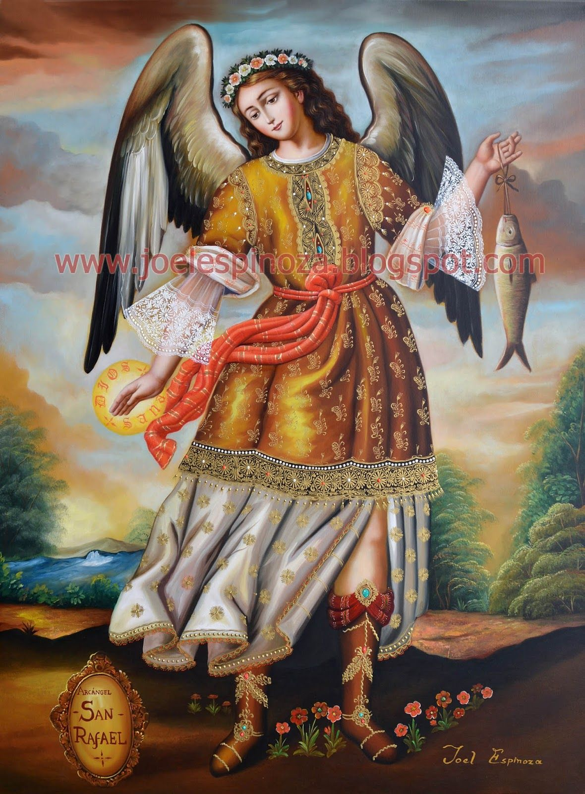 Arcángel San Rafael 100 x 70 cm Óleo sobre tela ...