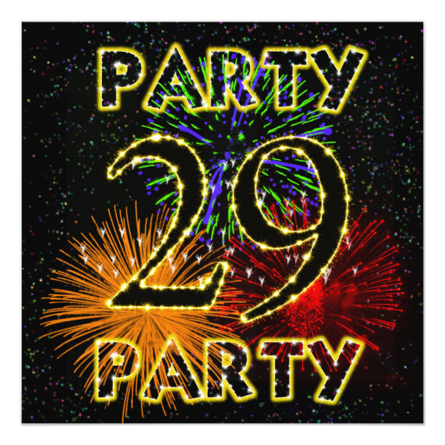 """29th birthday party invitation with fireworks 5.25"""" square invitation card An elegant firework party makes this a classy invitation to any event."""