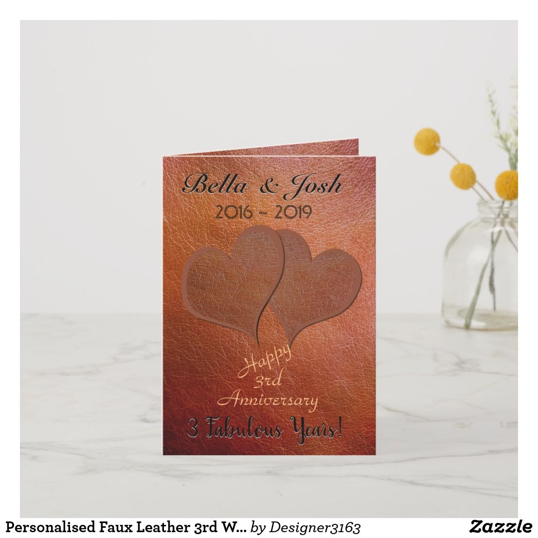 personalised faux leather 3rd wedding anniversary card