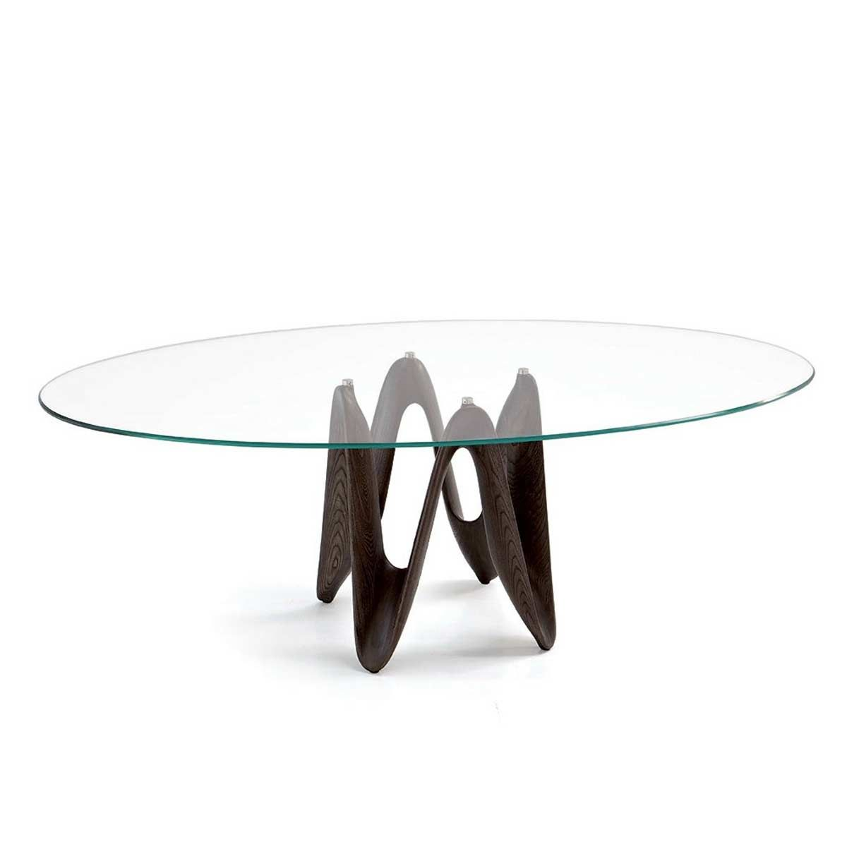 Lambda Oval Glass Dining Table Is Made From A Unique Sculpted Base Which  Effortlessly Supports A Thick Toughened Glass Table Top.