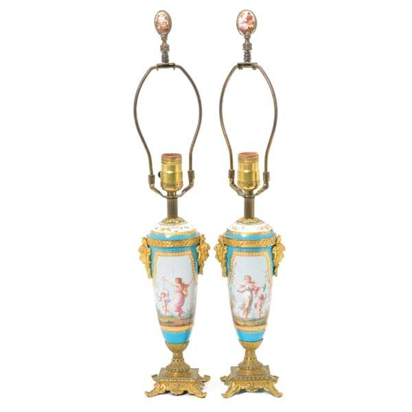Pair of Sevres Style Gilt Bronze Mounted Porcelain Table Lamps #michaans http://www.michaans.com/highlights/2016/highlights_05072016.php
