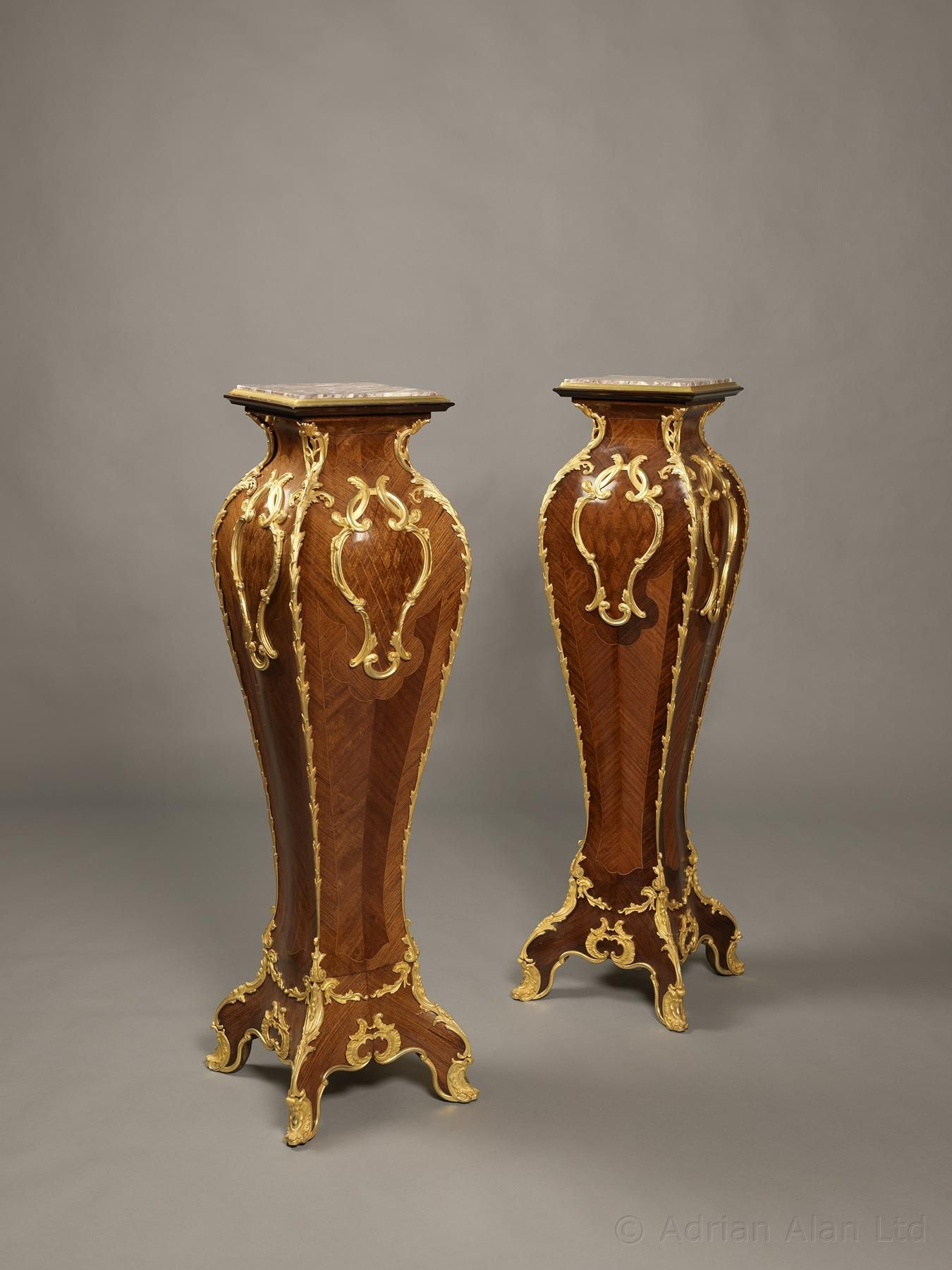 A Fine Pair Of Louis Xv Style Gilt Bronze Mounted Kingwood