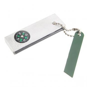 Survival Flint Stone Fire Starter Scraper Compass Keychain