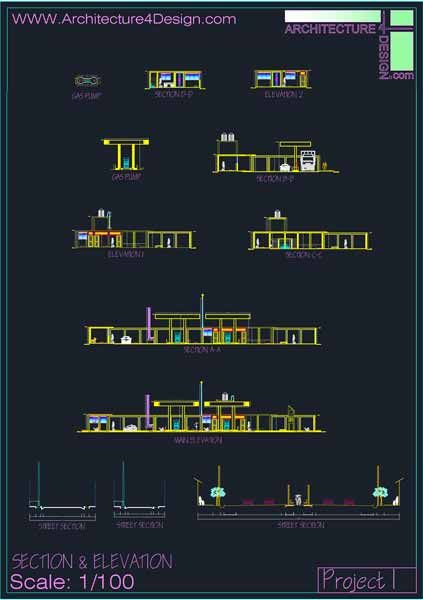 Fuel Filling Stations Architecture Design A Collection Of 19 Gas Stations Designs Autocad Drawings Architecture Fo Filling Station Autocad Autocad Drawing