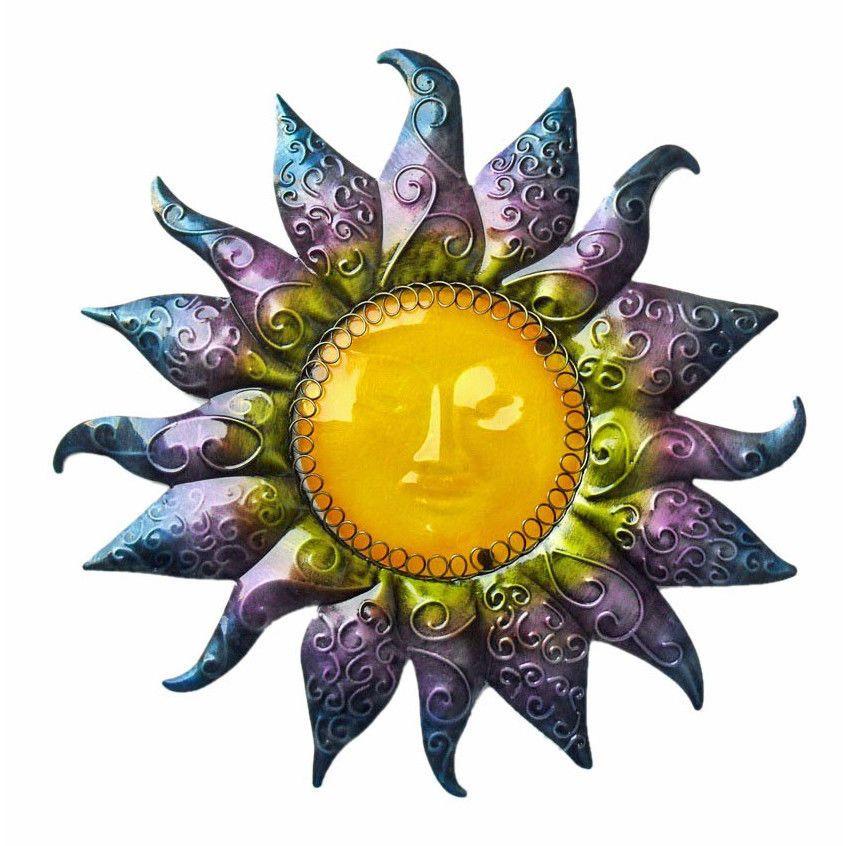 Sunburst Wall Decor Plaque Blue Purple Sun Celestial Mask Sculpture ...