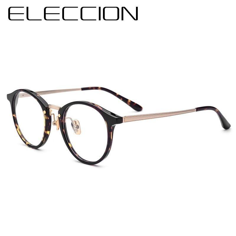 8f2a6aaba9 ELECCION Eyewear Acetate Frames Round Glasses Frame For Men 2018 New  Optical Myopia Prescription Eyeglass Women Leopard Color
