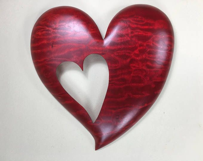 Red Personalized Wooden Wall Heart Shaped Gift Wood Carving Wooden Jewelery Bone Carving Wood Hearts