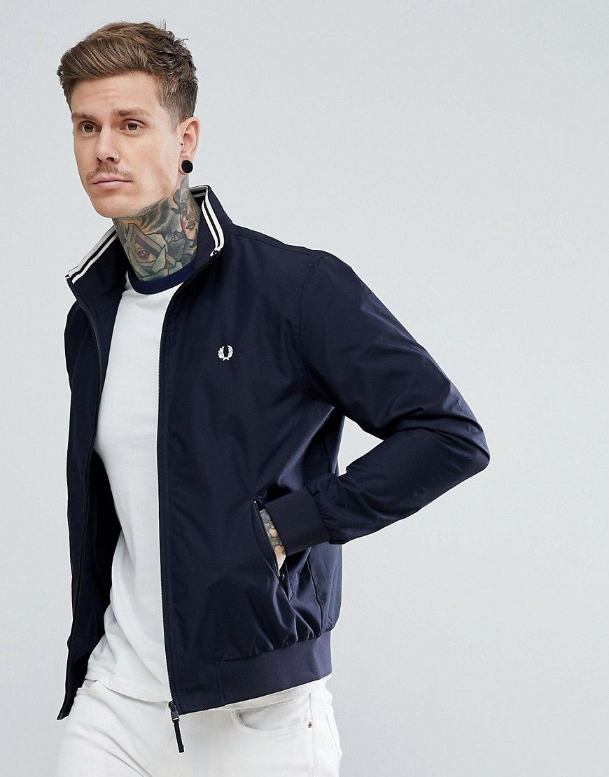 86fab1957 FRED PERRY BRENTHAM ZIP THROUGH JACKET IN NAVY - NAVY. #fredperry ...