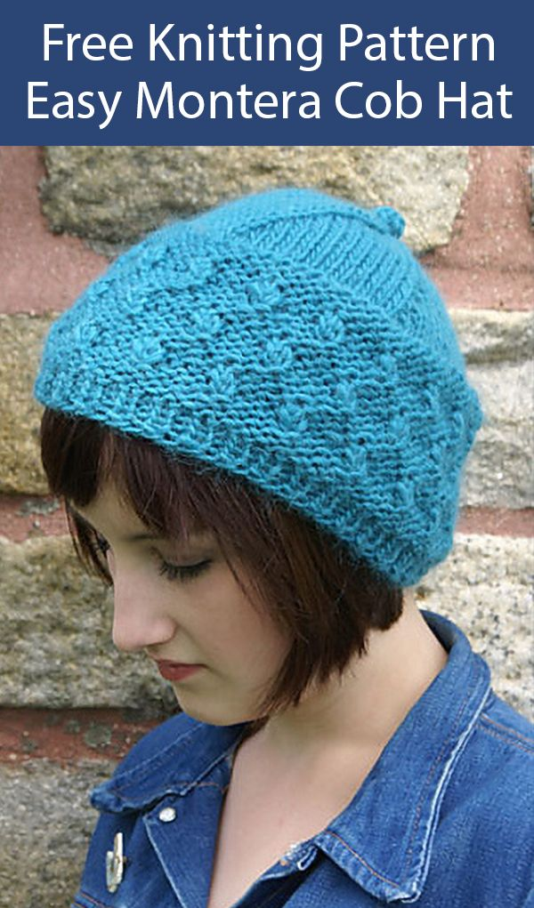 Free Knitting Pattern for Easy Montera Cob Toque Hat - Hat ...