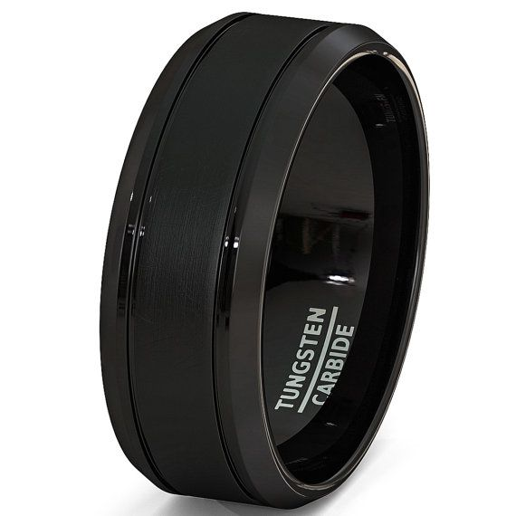Mens Wedding Band Stain 8mm Brushed Surface Inlay Black Tungsten Ring Comfort Fit High Quality Tungsten Carbide