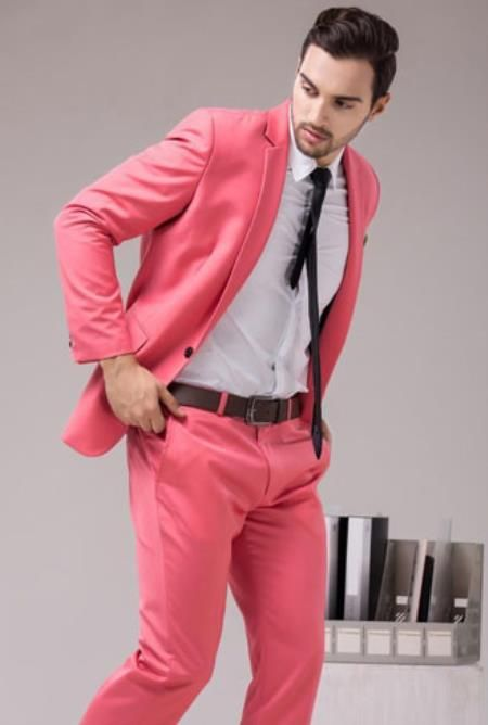 Men's Coral Color ( Peach Pinkish ) 2 Button Slim Fit Suit For Man ...