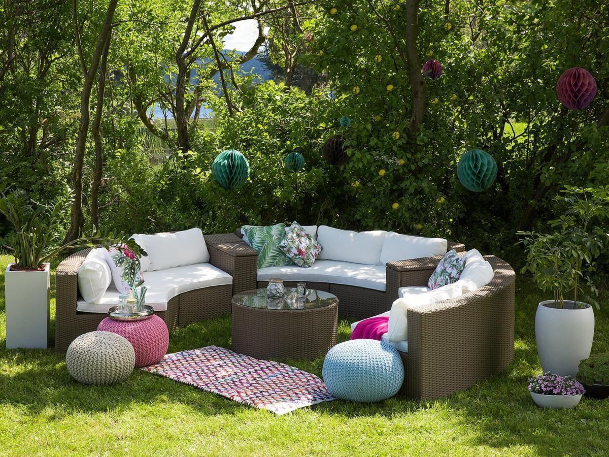gartenmobel fur terrasse, runde rattan gartenmöbel lounge braun weiß sitzgarnitur rund für, Design ideen