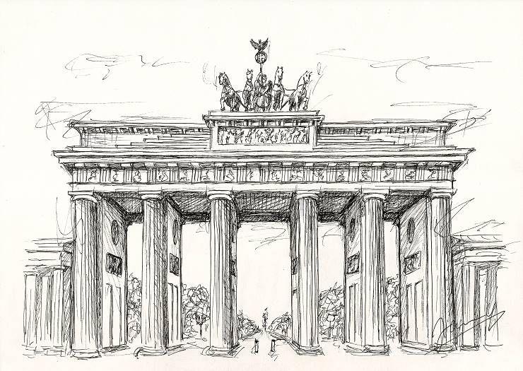 Jannys Art Scribble Art Brandenburger Tor 2 Zeichnung In 2020 Kunst Ideen Aquarell Architektur Brandenburger Tor