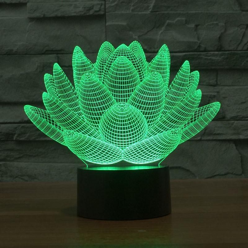 Colorful Lotus Flower 3d Led Night Light Decorative Night Lights Color Optical Illusions 3d Illusion Lamp
