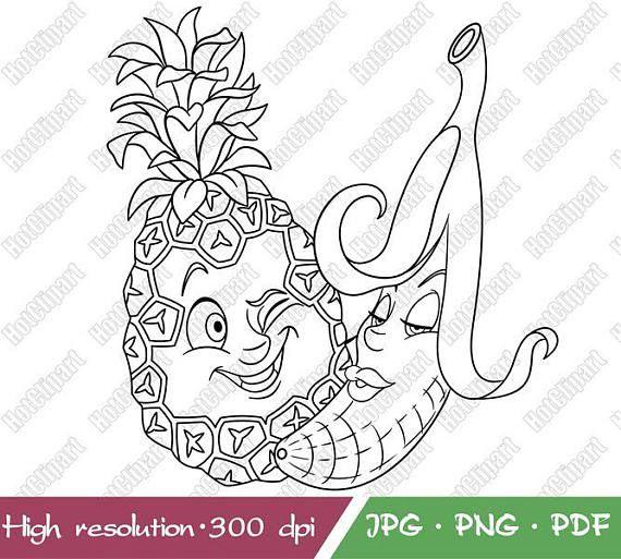 Funny fruits love smiley face emoji digital stamp digi