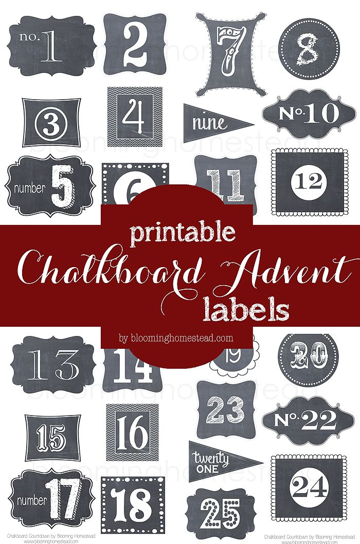Christmas Book Countdown Number, Labels free and Create
