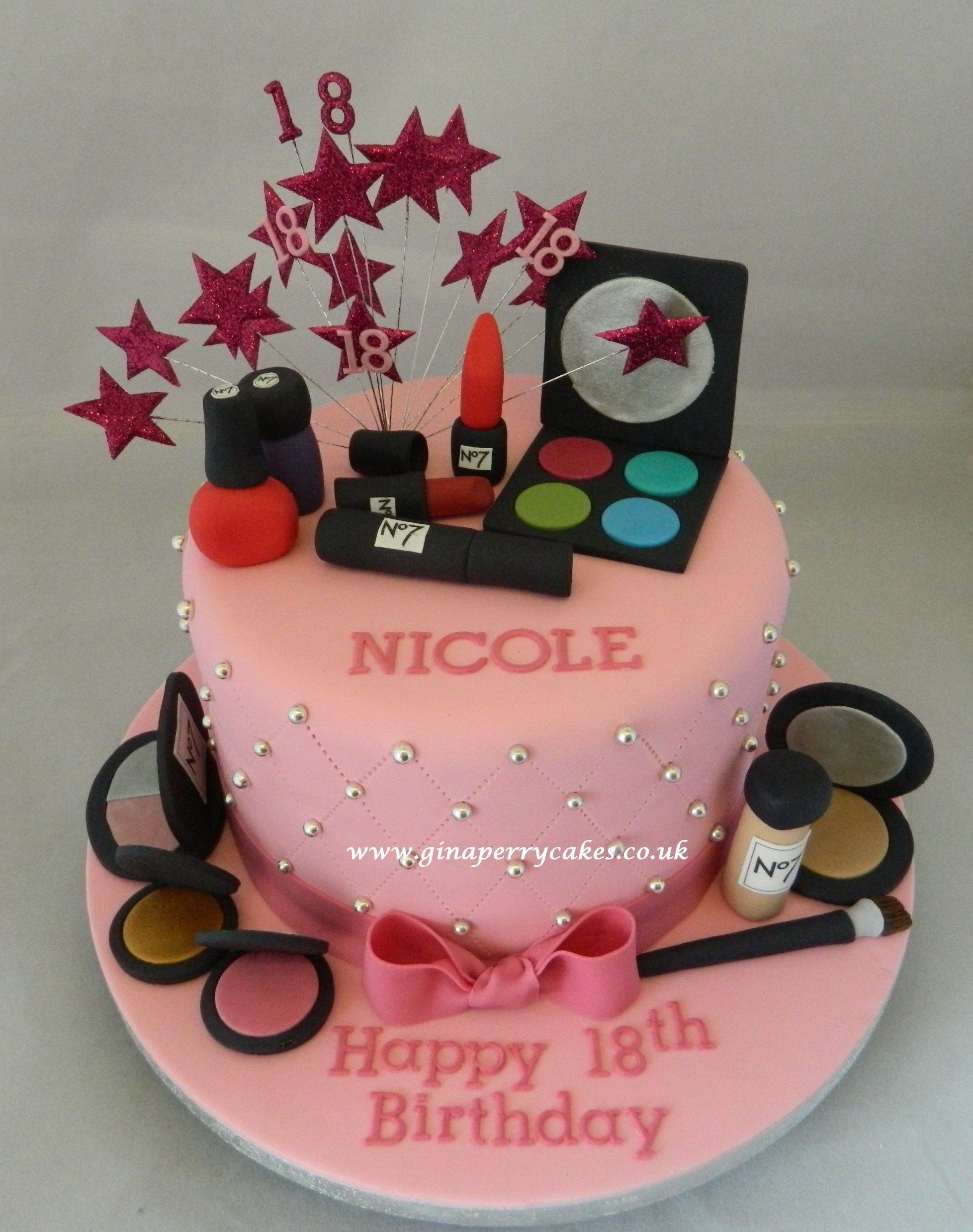 Makeup Birthday Cake 18th Birthday Cake Make Up Theme Quinceaera