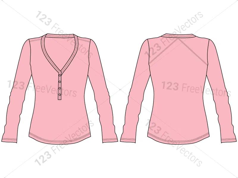Download Women S Long Sleeve T Shirt Template Vector And Psd Pack 01 Womens Trendy Tops Shirt Template Women