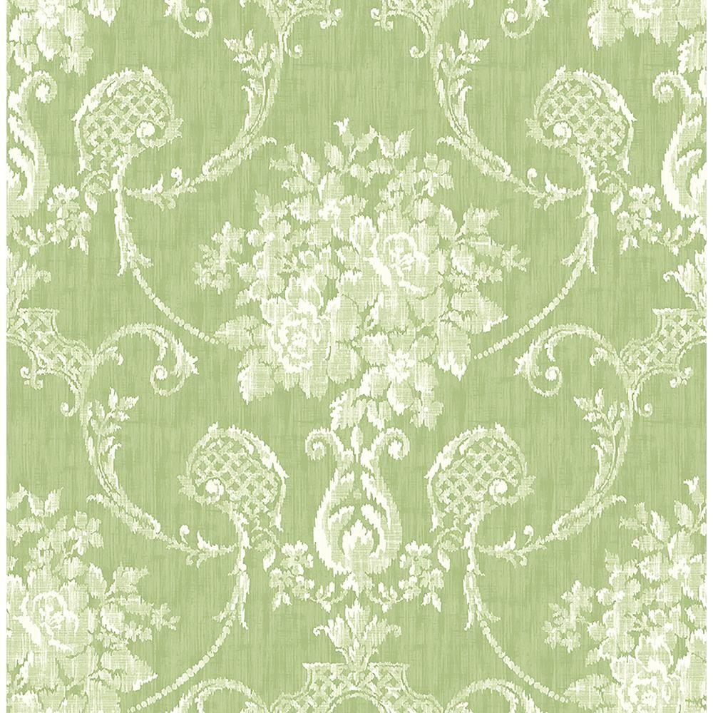 Winsome Green Floral Damask Wallpaper Sample