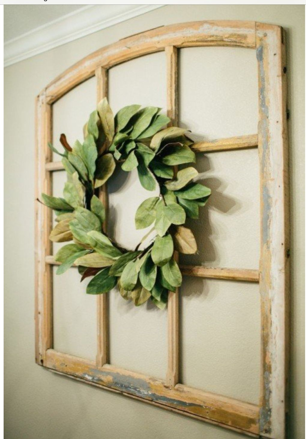 Fixer Upper Magnolia Wreath In Old Window Pane Farmhouse Wall Decor Home Decor Magnolia Homes