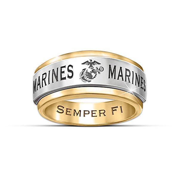 Usmc Semper Fi 24k Gold Ion Plated Men S Spinning Ring Army Rings Rings For Men Usmc