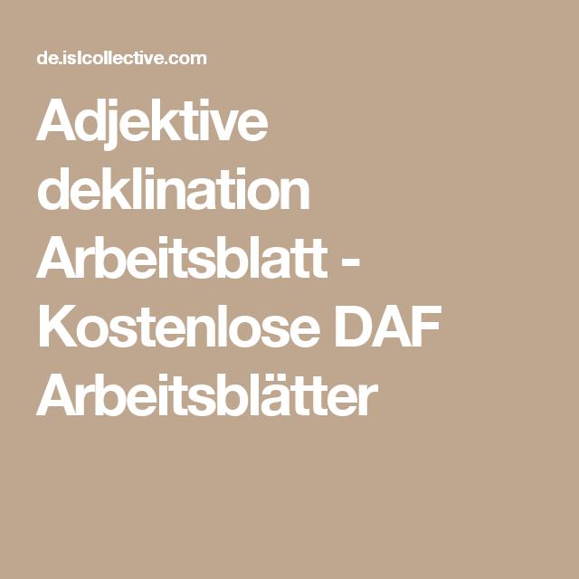 Adjektive deklination | Pinterest | Adjektive, Arbeitsblätter und ...