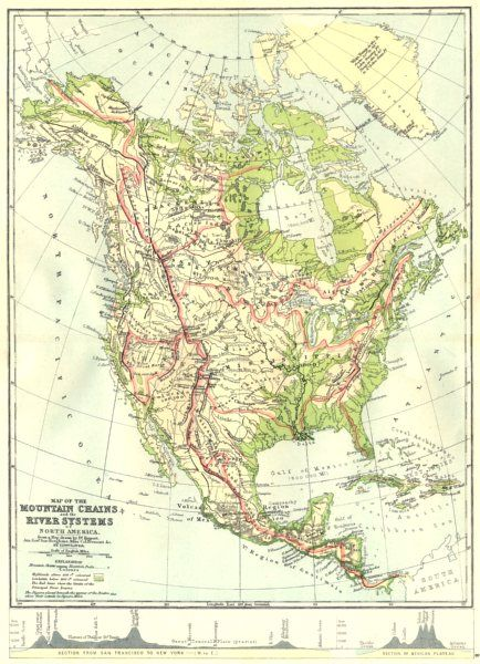 North America Map With Rivers And Mountains.American Mountains Maps North America Map Mountain Chains River