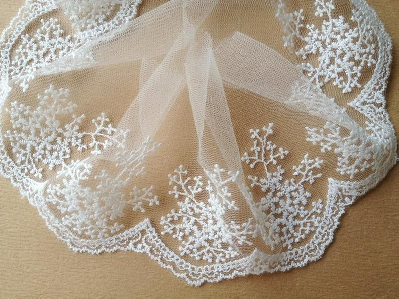 Photo of White embroidery lace, snowflake trim, …