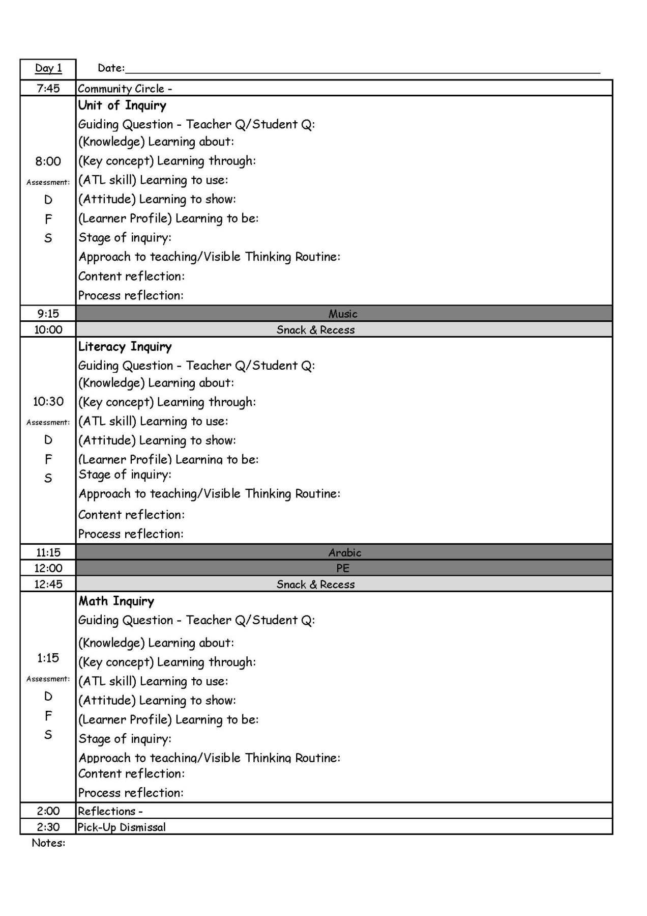 Pyp Day Plan Template  Plan Plan Template And Music Education