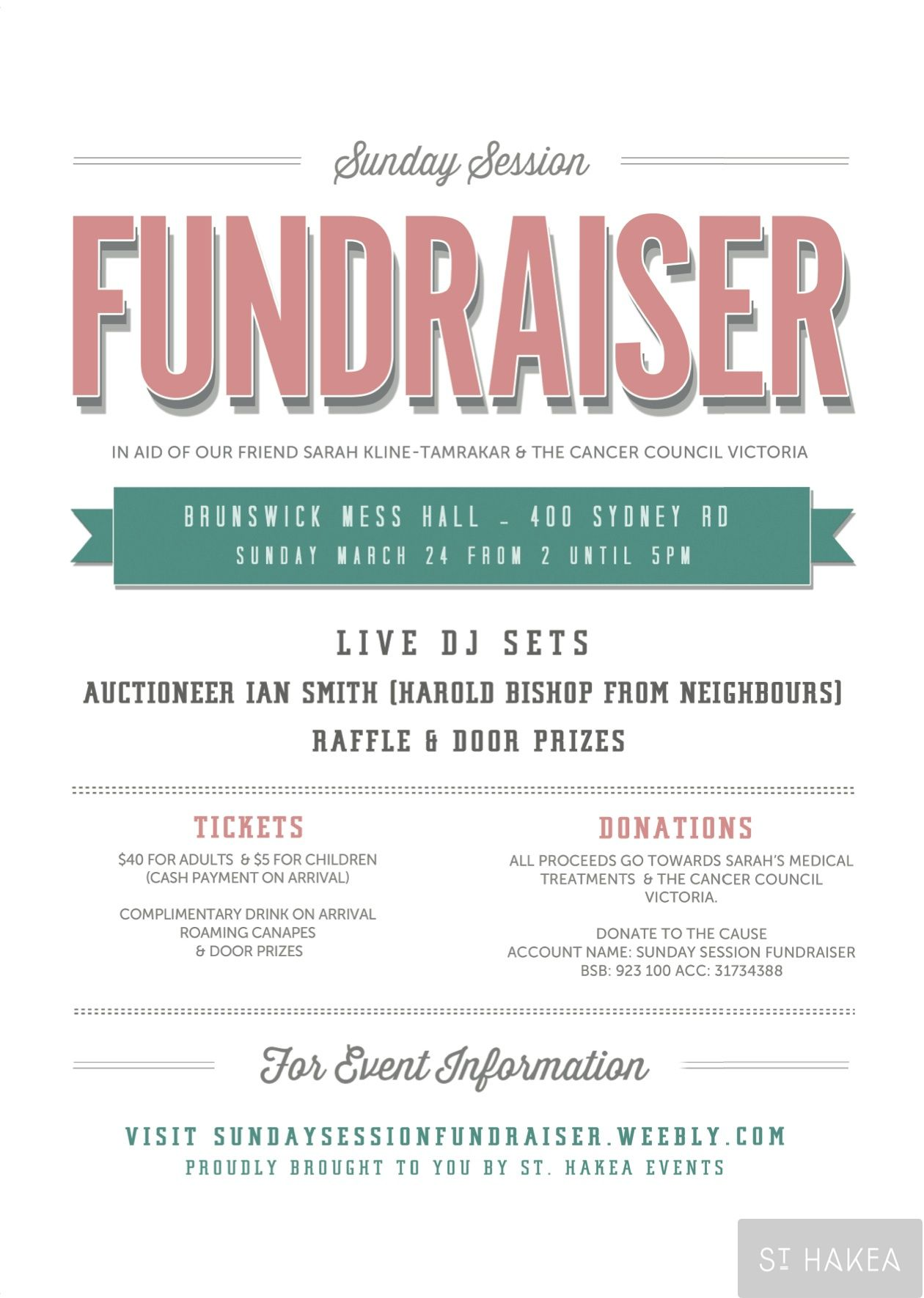 Sunday Session Fundraiser Event Flyer Proudly Bought To You By St