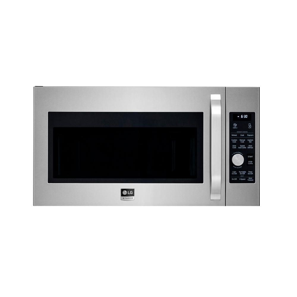 Lg Studio 1 7 Cu Ft Over The Range Convection Microwave In Printproof Stainless Steel With Sensor Cooking Lsmc3086ss The Home Depot In 2020 Convection Microwaves Range Microwave Microwave