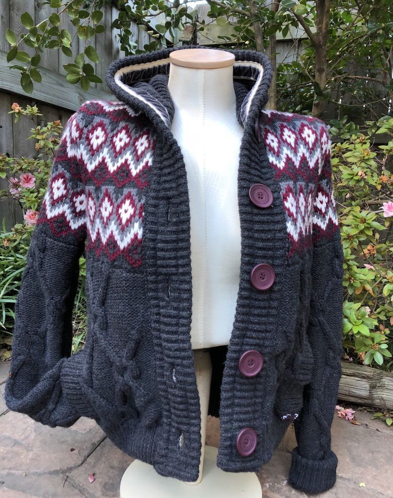 NWT SUPERDRY WOMENS RARE HOODED CHUNKY CABLE KNIT SORBONNE