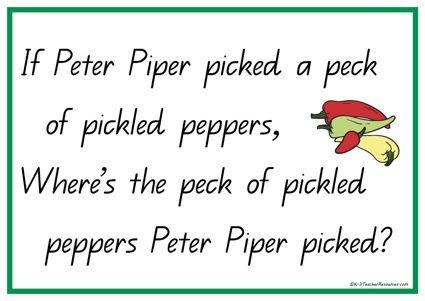 peter piper nursery rhyme